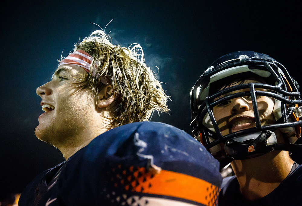 Rochester's Mike McNicholas (85) waits along the sidelines as the clock winds down against Belleville Althoff in the second half during the second round of the IHSA Class 4A Playoffs at Rocket Booster Stadium, Saturday, Nov. 4, 2017, in Rochester, Ill. [Justin L. Fowler/The State Journal-Register]