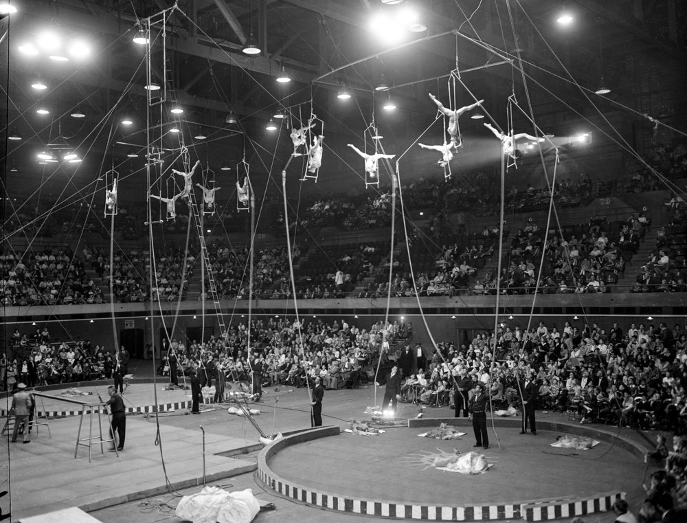 Circus, trapeze artists, Illinois State Armory, Nov. 16, 1955.