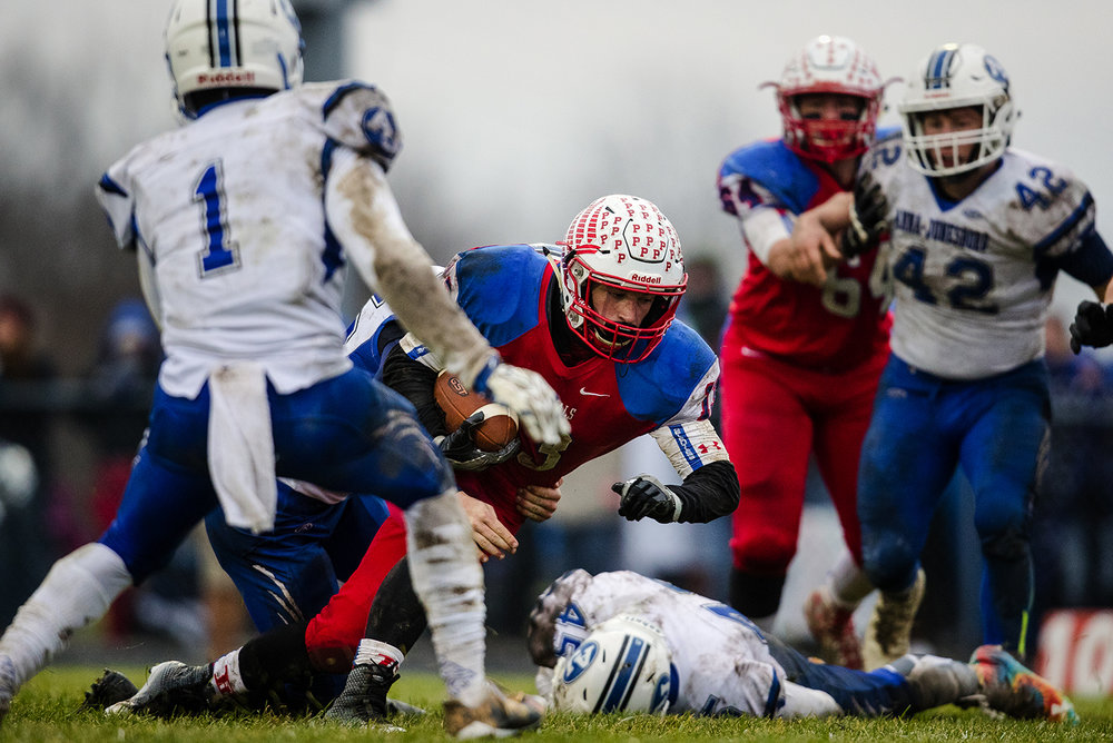 Pleasant Plains' Lucas Western plows into the endzone for after a seven yard touchdown run against Anna-Jonesboro during the IHSA Class 3A football semifinal game at Pleasant Plains High School Saturday, Nov. 18, 2017. [Ted Schurter/The State Journal-Register]