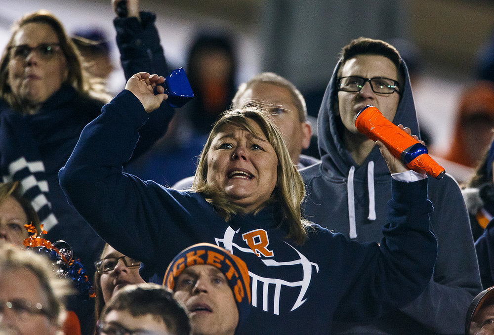 Rochester fans cheer on the Rockets as they take on Morris in the third quarter during the IHSA Class 4A State Championship at Huskie Stadium, Friday, Nov. 24, 2017, in Dekalb, Ill. [Justin L. Fowler/The State Journal-Register]