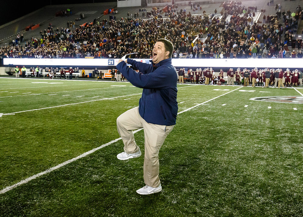 Rochester head football coach Derek Leonard leaps up in to the air as the Rockets defeat Morris 24-21 in the IHSA Class 4A State Championship at Huskie Stadium, Friday, Nov. 24, 2017, in Dekalb, Ill. [Justin L. Fowler/The State Journal-Register]