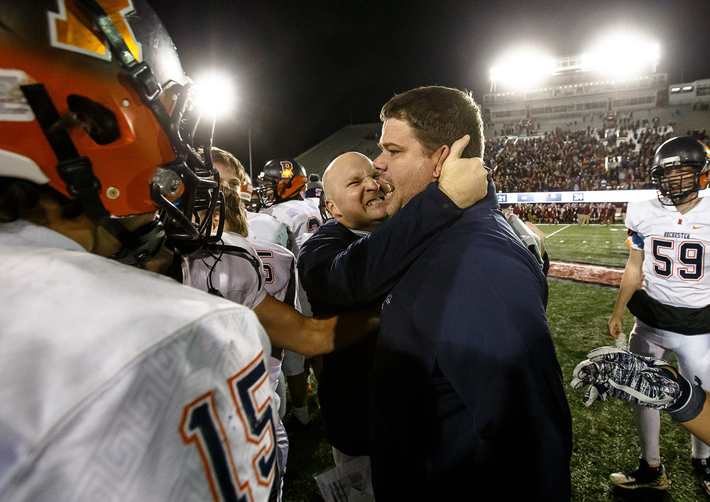 Rochester head football coach Derek Leonard and defensive coordinator Steve Buecker celebrate the Rockets 24-21 victory over Morris in the IHSA Class 4A State Championship at Huskie Stadium, Friday, Nov. 24, 2017, in Dekalb, Ill. [Justin L. Fowler/The State Journal-Register]