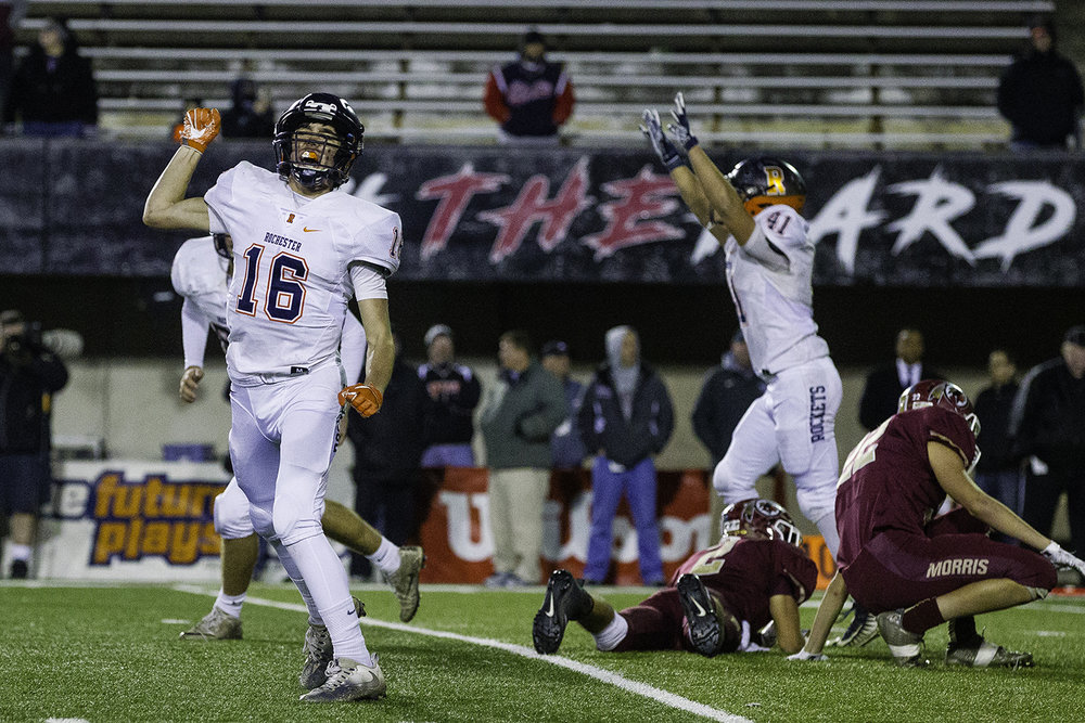 Rochester's Clay Bruno celebrates after the Rockets beat Morris during the IHSA Class 4A championship game at Huskie Stadium in Dekalb, Ill., Friday, Nov. 24, 2017. [Ted Schurter/The State Journal-Register]