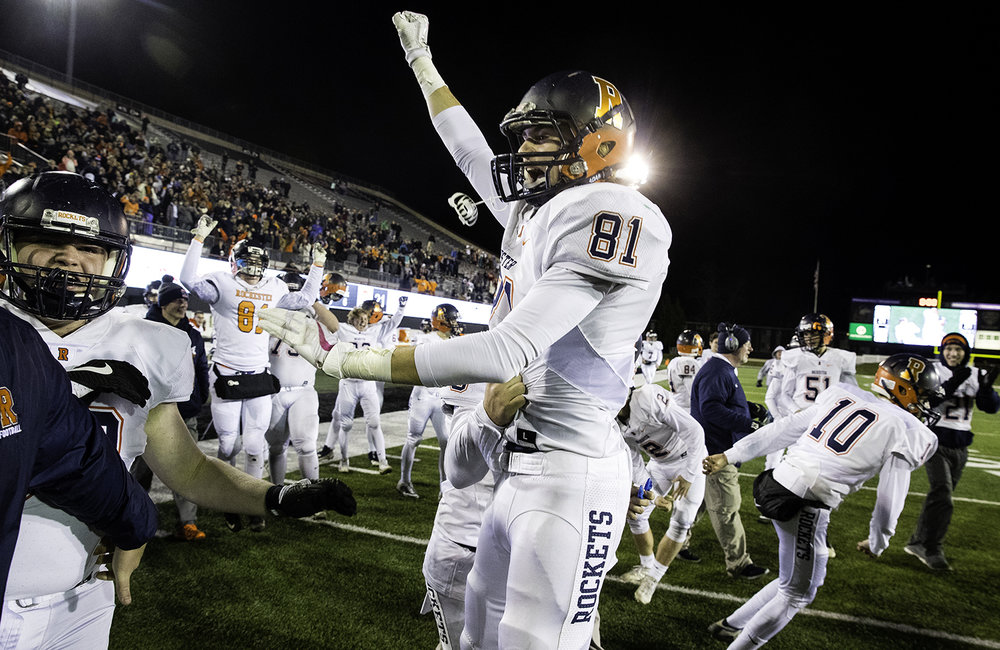 Rochester's Jayden Reed celebrates after the Rockets defeated Morris during the IHSA Class 4A championship game at Huskie Stadium in Dekalb, Ill., Friday, Nov. 24, 2017. [Ted Schurter/The State Journal-Register]