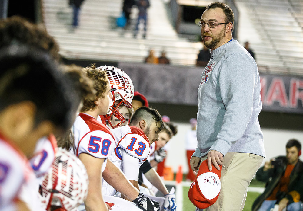 Pleasant Plains head football coach Brody Walworth talks to his team after the Cardinals were defeated by Elmhurst IC Catholic 35-0 in the IHSA Class 3A State Championship at Huskie Stadium, Friday, Nov. 24, 2017, in Dekalb, Ill. [Justin L. Fowler/The State Journal-Register]