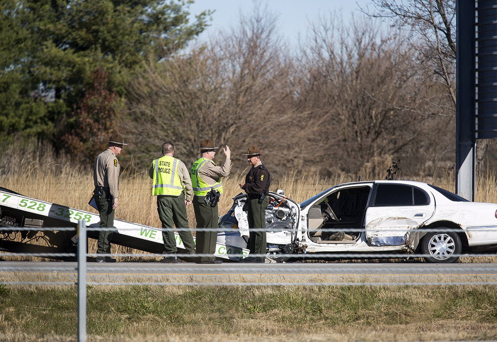 The Illinois State Police are investigating an accident on I 72 between the MacArthur Boulevard and Veterans Parkway exits, Friday, Dec. 1, 2017, that killed a tow truck driver for A&M Towing of Springfield. [Rich Saal/The State Journal-Register]
