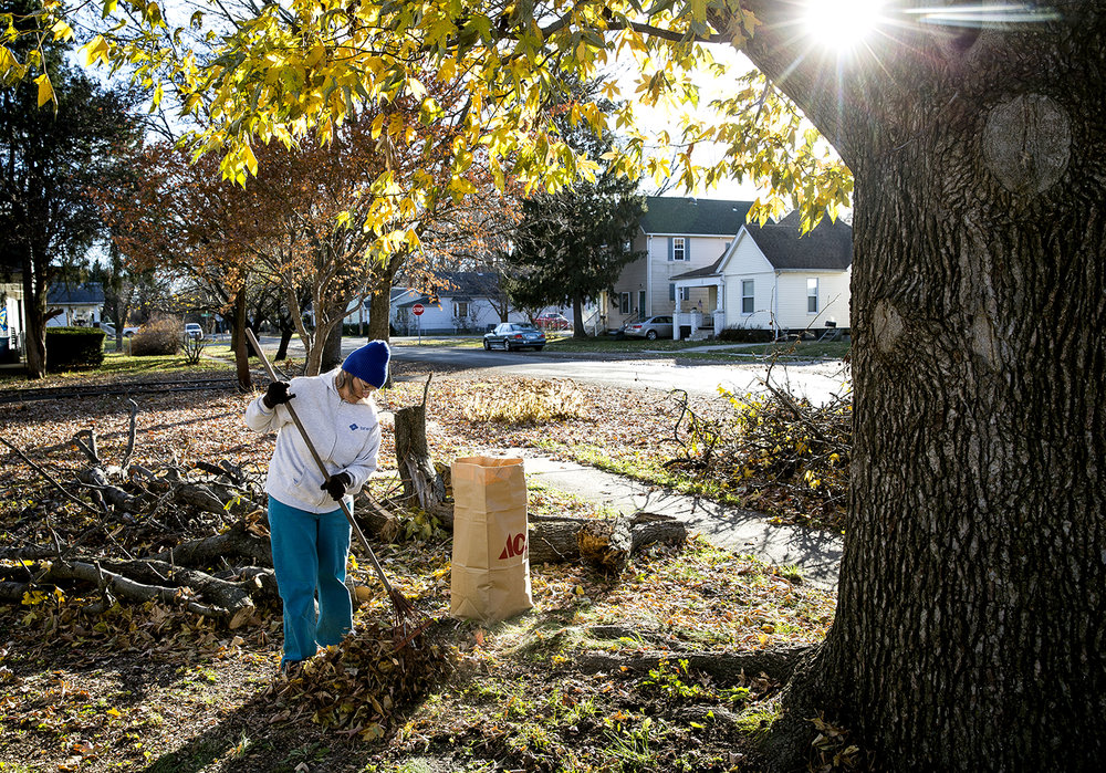 Kay Parnell gathers leaves in her neighbor's yard and bags them Thursday, Nov. 30, 2017 in the 1000 block of N. Osburn Avenue. Parnell had already cleaned up her own yard and was doing it as a favor. The city-wide free leaf pickup program ends Monday.[Rich Saal/The State Journal-Register]
