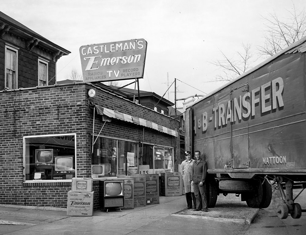 Castleman's Emerson TV accepting shipment of new television sets Dec. 6, 1955. File/The State Journal-Register