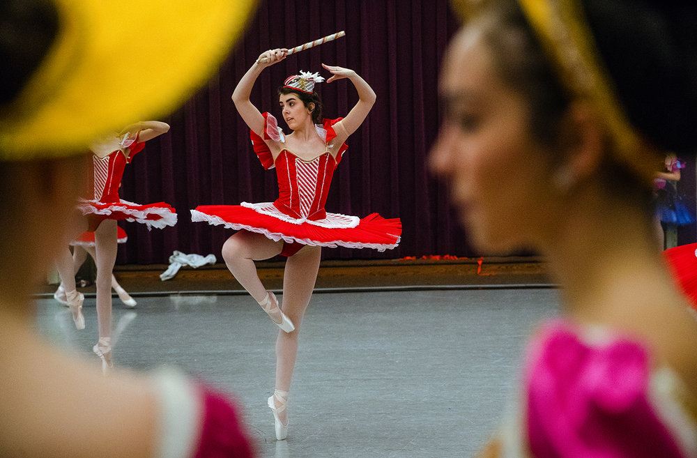 during rehearsal for The Springfield Ballet Company's 43rd annual production of The Nutcracker Saturday, Dec. 2, 2017. The show opens at Sangamon Auditorium Saturday, December 9, 2017. [Ted Schurter/The State Journal-Register]