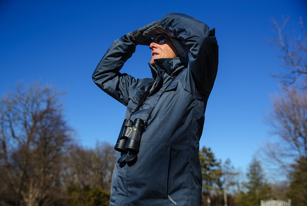 Nick Klobuchar scans the area for a Cooper's Hawk he had spotted earlier at Washington Park Friday, Dec. 8, 2017. Klobuchar, an avid bird watcher and photographer, said the arrival of colder weather often prompts the arrival of non-native birds as they make their southerly migration. [Ted Schurter/The State Journal-Register]