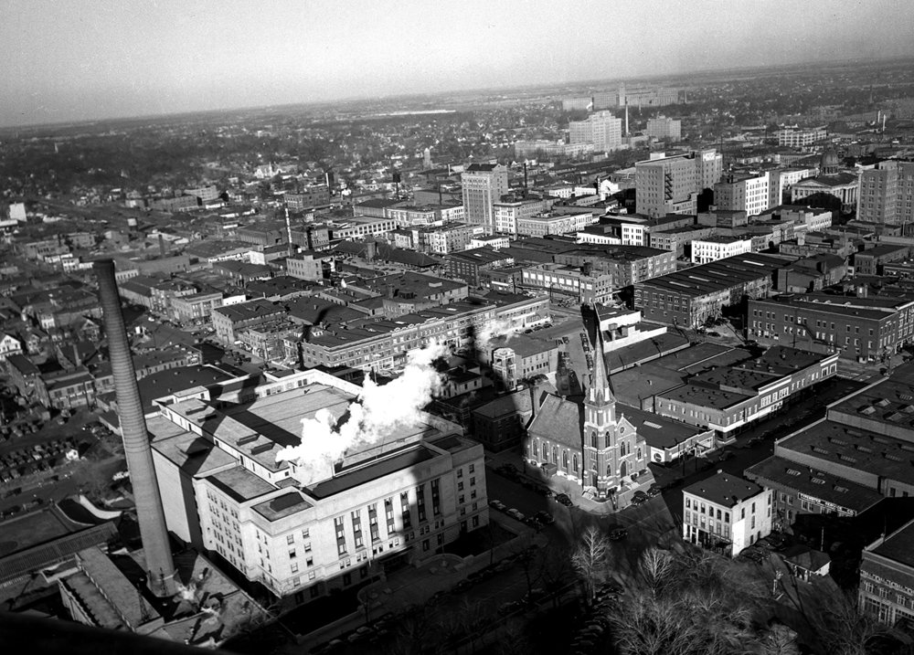 View from State Capitol cupola facing northeast, Illinois State Armory in foreground, Dec. 17, 1946 . File/The State Journal-Registeraerial; downtown; architecture; picpast; spihistory; skyline