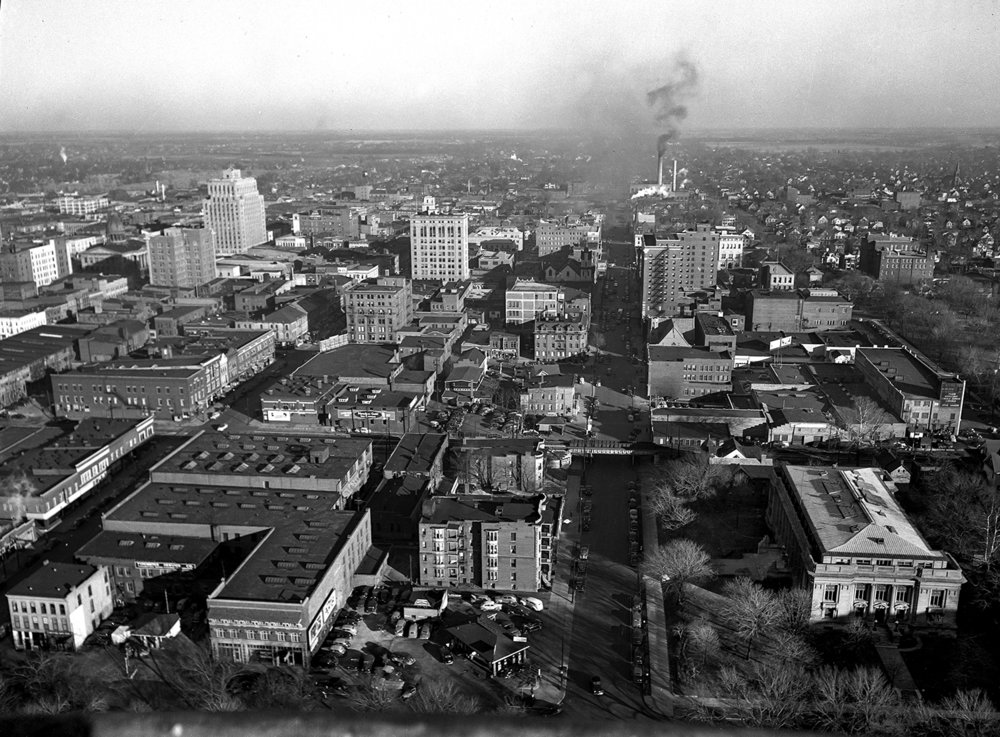 East view from State Capitol looking up Capitol Avenue, Dec. 17, 1946. Illinois Supreme Court building is lower right. File/The State Journal-Register