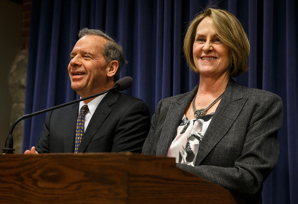 Illinois Senate President John Cullerton, D-Chicago, and Illinois Senate Minority Leader Christine Radogno, R-Lemont, hold a joint press conference to discuss a package of budget bills that both sides worked on and were introduced during the lame duck session at the Illinois State Capitol Jan. 9. The rare smiles didn't last long. When the so-called Grand Bargain later came to a vote in the Senate, Gov. Bruce Rauner had pulled Republican support, leaving Radogno the only Republican Senator to support it. Justin L. Fowler/The State Journal-Register