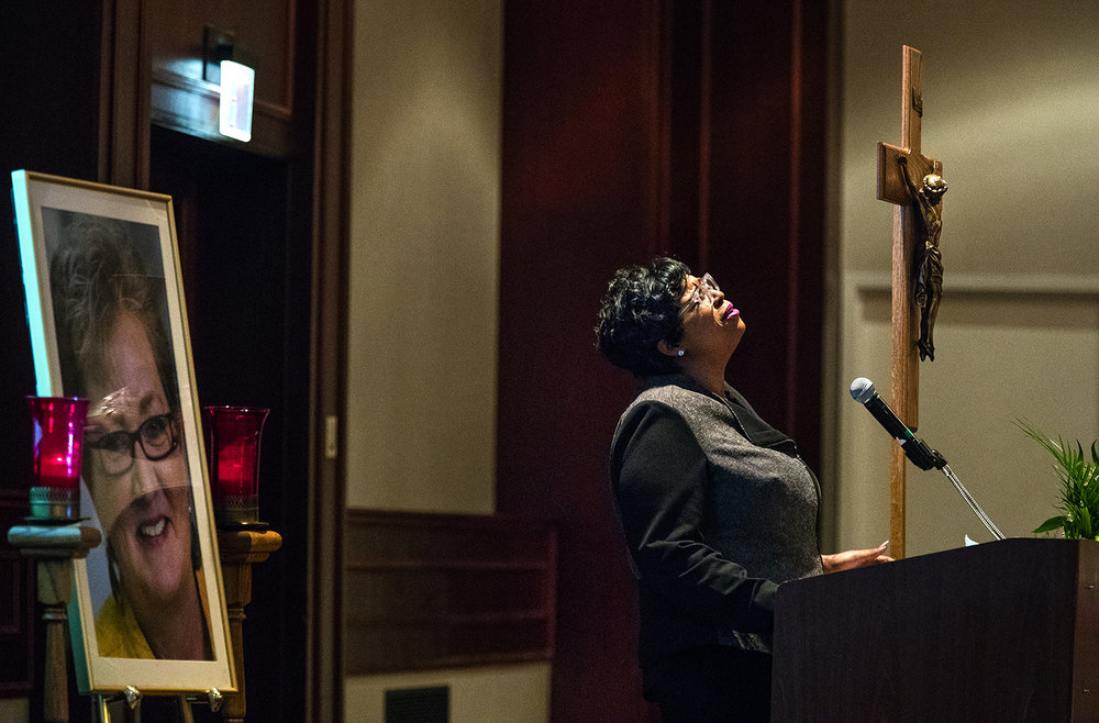 "Tiffany Mathis sings ""Hallelujah"" during a celebration of life service for Mary Therese Vann at the Crowne Plaza  Friday, Jan. 6, 2017. More than 500 people attended the service for Vann, a well-known business owner, realtor, auctioneer, and ambassador for the LGBT community. Ted Schurter/The State Journal-Register"