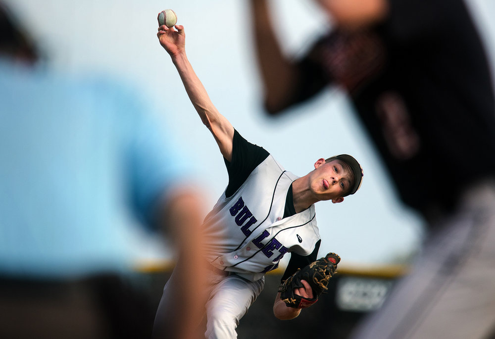 Williamsville's Cody Womack fires a pitch toward a Nokomis batter at Williamsville High School April 18. Ted Schurter/The State Journal-Register