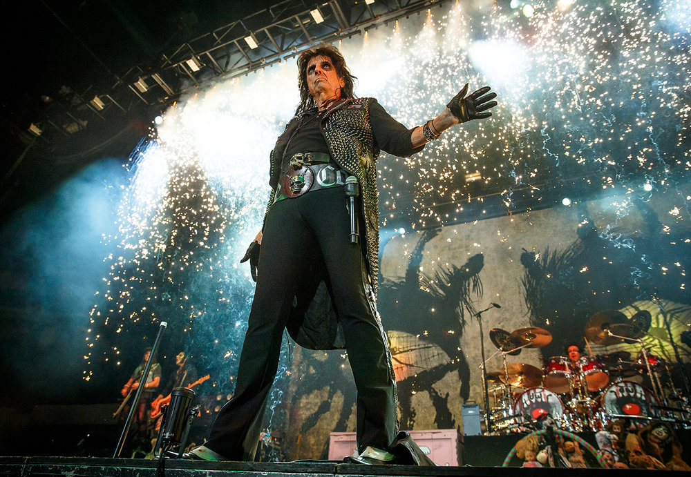 Rock and Roll Hall of Fame inductee Alice Cooper takes the stage under a shower of pyrotechnics for a concert at the Prairie Capital Convention Center April 23. Justin L. Fowler/The State Journal-Register