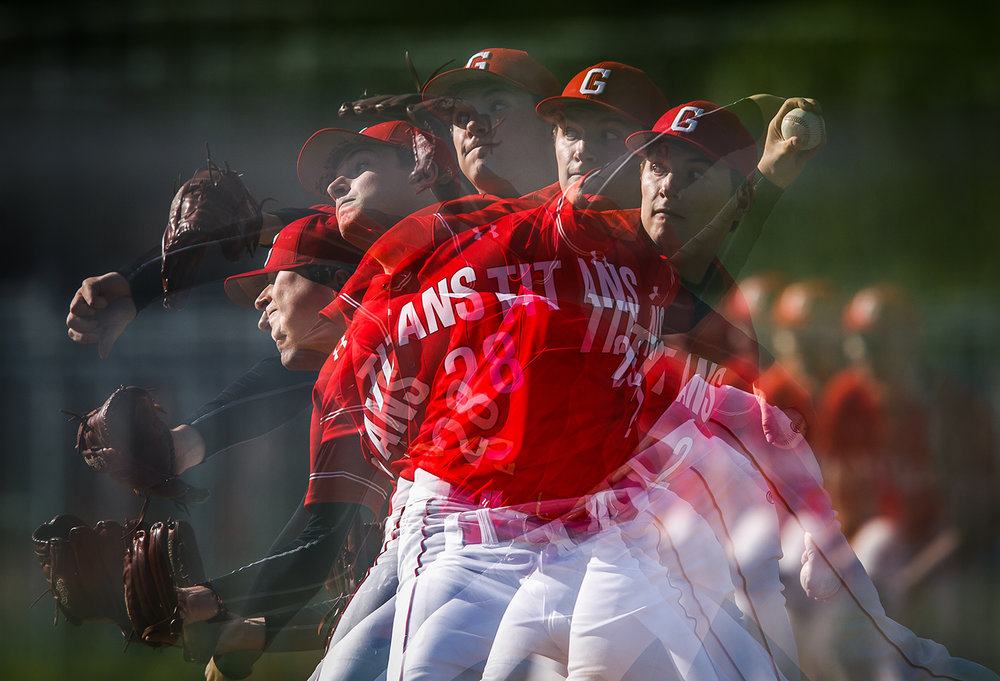 An in-camera multiple exposure captures Glenwood's Reid Detmers pitch against Rochester during a game at Rochester High School May 2. Justin L. Fowler/The State Journal-Register