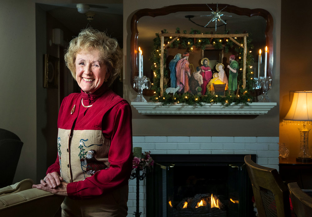 Dorothy Ewing has been putting up the same nativity set in her home for years, one that her late father Carl T. Meyer, an architect, built 75 years ago from a pattern he sent off for as a result of an ad in the newspaper. [Ted Schurter/The State Journal-Register]