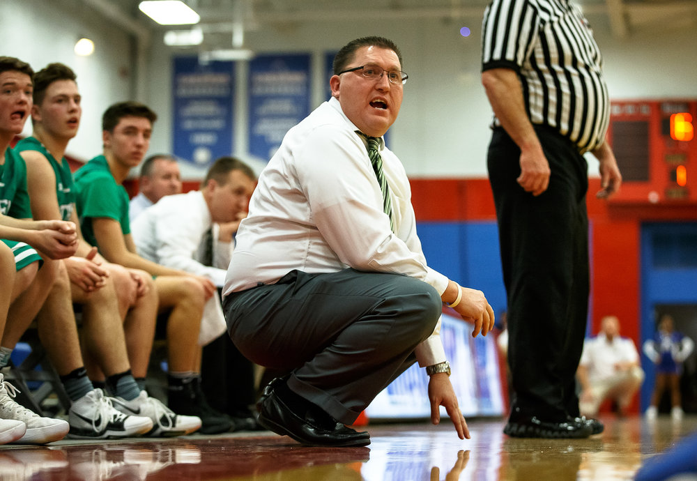 Athens boys basketball head coach Jeff Johnston calls out to his players as they pressure Auburn in the first half during opening night of the Boys Sangamon County Tournament at Lincoln Land Community College's Cass Gymnasium, Monday, Jan. 8, 2018, in Springfield, Ill. [Justin L. Fowler/The State Journal-Register]
