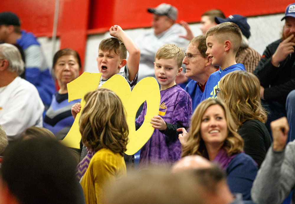 Young fans get set to cheer on Williamsville boys basketball head coach Nick Beard as he gets his 100th career victory against Buffalo Tri-City during the opening night of the Boys Sangamon County Tournament at Lincoln Land Community College's Cass Gymnasium, Monday, Jan. 8, 2018, in Springfield, Ill. [Justin L. Fowler/The State Journal-Register]