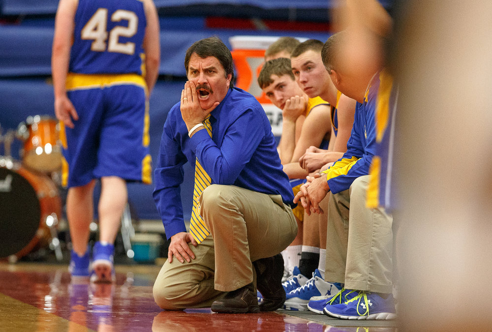 Buffalo Tri-City boys basketball head coach Steve Dilley calls out to his players as they take on Williamsville in the second half during opening night of the Boys Sangamon County Tournament at Lincoln Land Community College's Cass Gymnasium, Monday, Jan. 8, 2018, in Springfield, Ill. [Justin L. Fowler/The State Journal-Register]