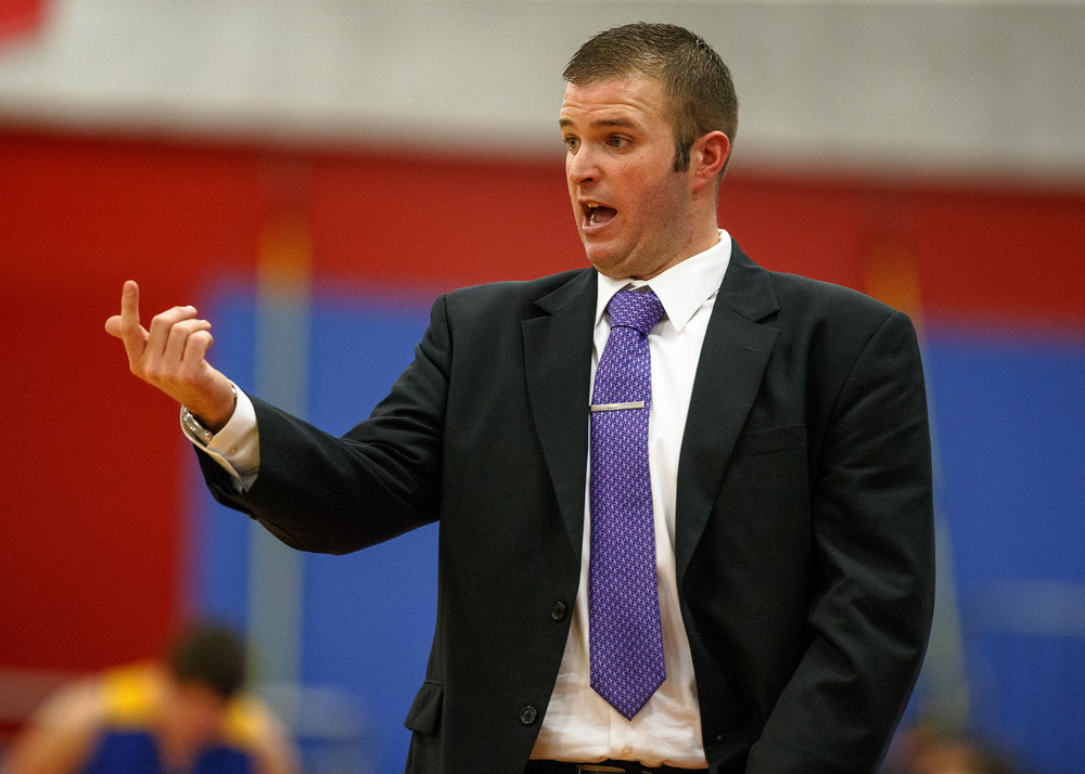 Williamsville boys basketball head coach Nick Beard calls out a play to his players as they take on Buffalo Tri-City in the second half during opening night of the Boys Sangamon County Tournament at Lincoln Land Community College's Cass Gymnasium, Monday, Jan. 8, 2018, in Springfield, Ill. [Justin L. Fowler/The State Journal-Register]