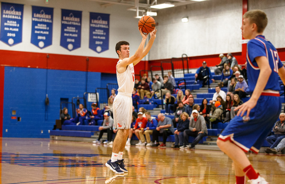 New Berlin's Ben Butcher (10) fires a wide open 3-pointer against Pawnee in the first half during the second night of the Boys Sangamon County Tournament at Lincoln Land Community College's Cass Gymnasium, Tuesday, Jan. 9, 2018, in Springfield, Ill. [Justin L. Fowler/The State Journal-Register]