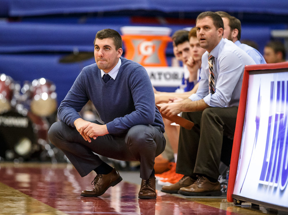 Riverton boys basketball head coach Kody Kirkpatrick watches as his team takes on Pleasant Plains in the first half during the second night of the Boys Sangamon County Tournament at Lincoln Land Community College's Cass Gymnasium, Tuesday, Jan. 9, 2018, in Springfield, Ill. [Justin L. Fowler/The State Journal-Register]