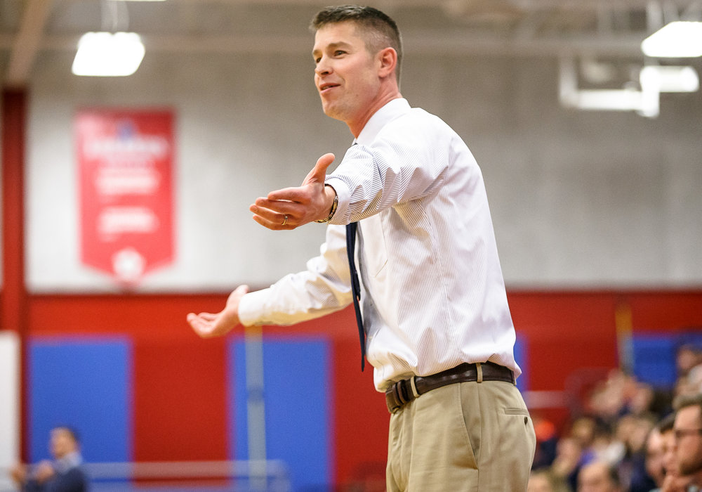 Pleasant Plains boys basketball head coach Kyle Weber asks for a foul from a referee as the Cardinals take on Riverton in the first half during the second night of the Boys Sangamon County Tournament at Lincoln Land Community College's Cass Gymnasium, Tuesday, Jan. 9, 2018, in Springfield, Ill. [Justin L. Fowler/The State Journal-Register]