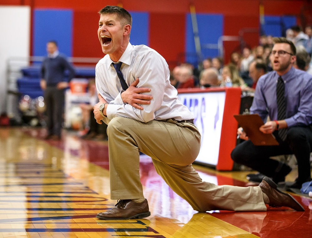 Pleasant Plains boys basketball head coach Kyle Weber calls out for his players to pressure Riverton on the inbounds pass in the second half during the second night of the Boys Sangamon County Tournament at Lincoln Land Community College's Cass Gymnasium, Tuesday, Jan. 9, 2018, in Springfield, Ill. [Justin L. Fowler/The State Journal-Register]