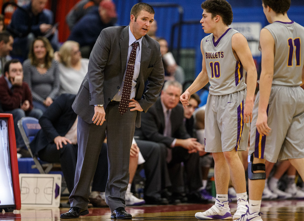 Williamsville boys basketball head coach Nick Beard talks with Williamsville's Griffin Keebler (10) during a break in play as the Bullets take on Athens in the first half during the semifinals of the Boys Sangamon County Tournament at Lincoln Land Community College's Cass Gymnasium, Wednesday, Jan. 10, 2018, in Springfield, Ill. [Justin L. Fowler/The State Journal-Register]