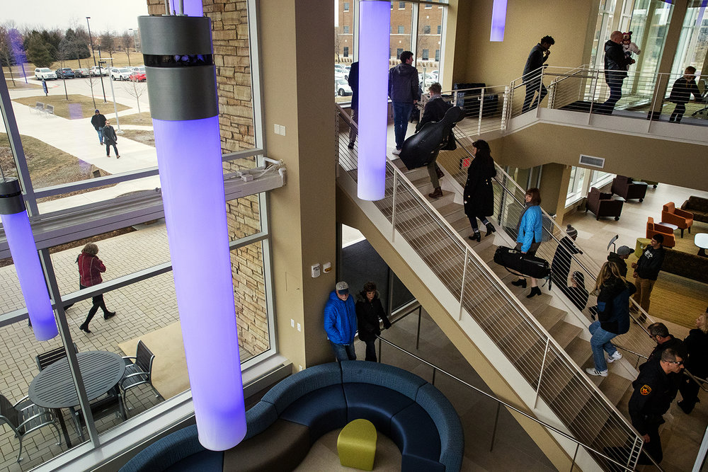 Guests stream into the University of Illinois Springfield new Student Union before the grand opening ceremony Sunday, Jan. 14, 2018. [Ted Schurter/The State Journal-Register]