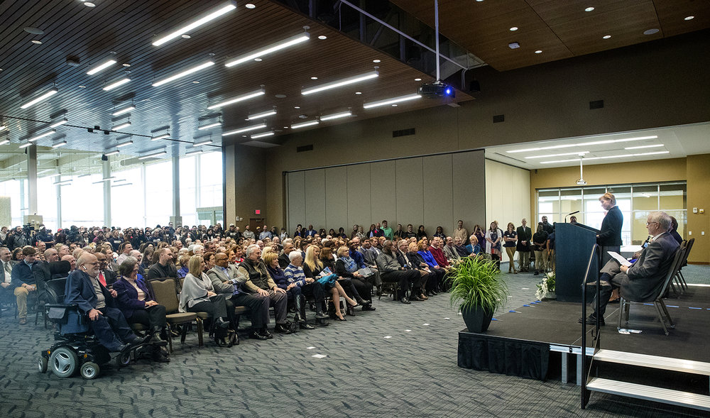 Susan Koch, Chancellor of University of Illinois Springfield, addresses the crowd gathered for the ribbon cutting for the new $21.75 million Student Union Sunday, Jan. 14, 2018. [Ted Schurter/The State Journal-Register]