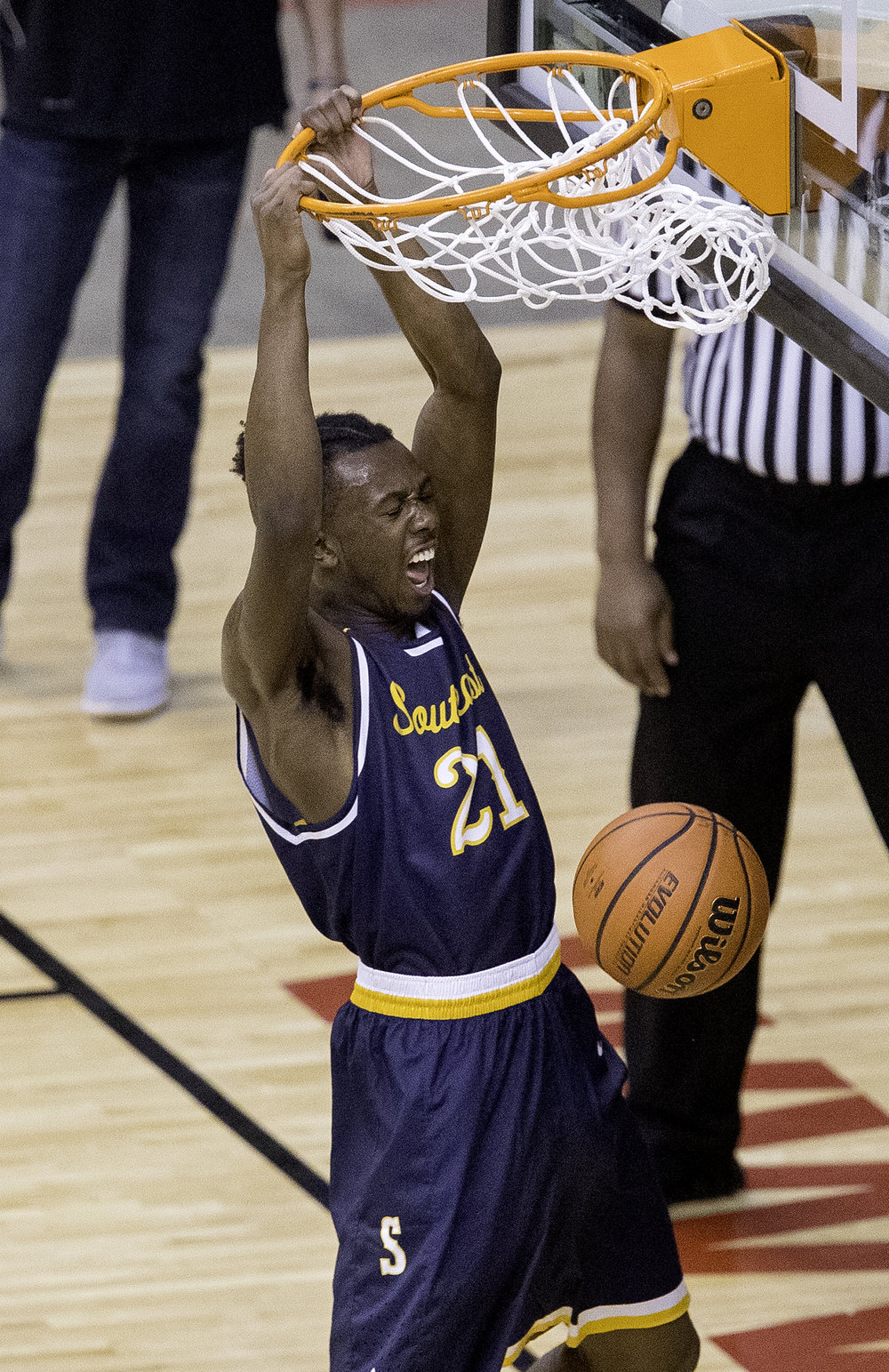 Southeast's Anthony Fairlee slams home two points against Springfield in the first half during the Boys City Tournament at the Bank of Springfield Center Friday, Jan. 19, 2018. [Ted Schurter/The State Journal-Register]