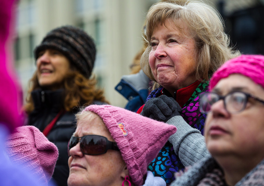 The crowd listens to Illinois Comptroller Susana Mendoza speak during the Action Illinois Springfield 'Women's March to the Polls' rally and march in Springfield, Ill., Saturday, Jan. 20, 2018. [Ted Schurter/The State Journal-Register]