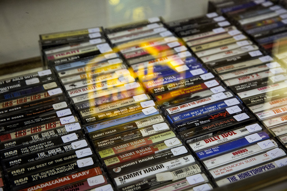 Cassette tapes are displayed in a case Thursday at Recycled Records in Springfield. [Rich Saal/The State Journal-Register]