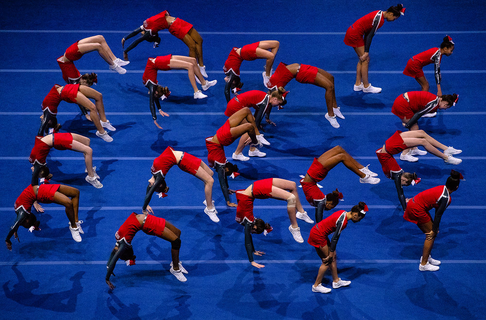 The Alton High School junior varsity Redbirds compete during the 34th Annual Illinois Cheerleading Coaches Association Championship at the Bank of Springfield Center Sunday, Jan. 7, 2018. The two-day and a half day event featured competitions for varsity, junior varsity and junior high teams from more than 70 different schools. [Ted Schurter/The State Journal-Register]