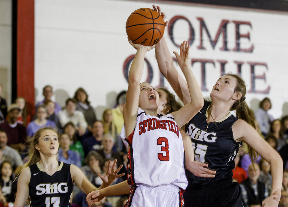 Sacred Heart-Griffin's Victoria Zeigler grabsblocks a shot by Springfield's Ashley Robinson during the Girls City Tournament at Springfield High School Saturday, Jan. 26, 2018. [Ted Schurter/The State Journal-Register]