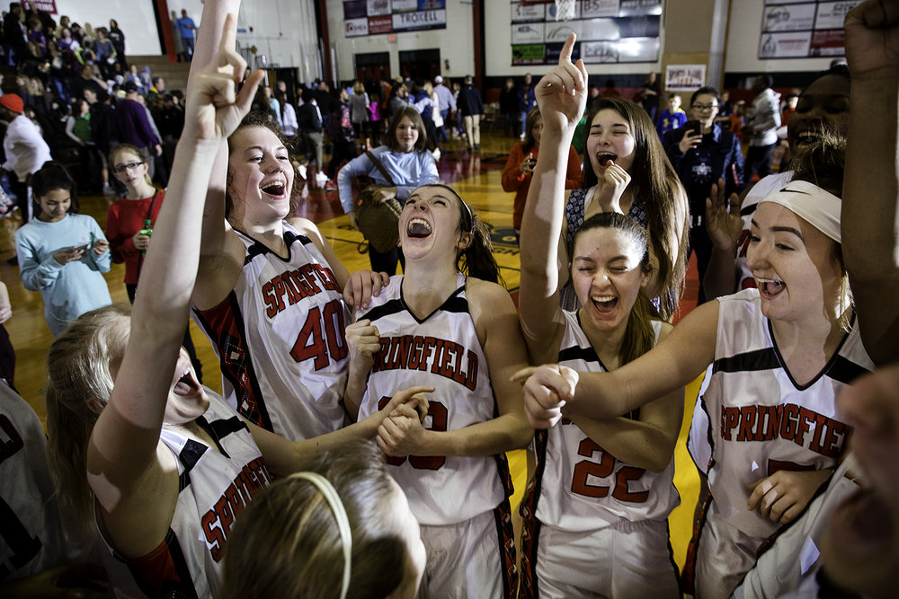 The Springfield Senators celebrate their 63-49 win against Sacred Heart-Griffin during the Girls City Tournament championship game at Springfield High School Saturday, Jan. 26, 2018. [Ted Schurter/The State Journal-Register]