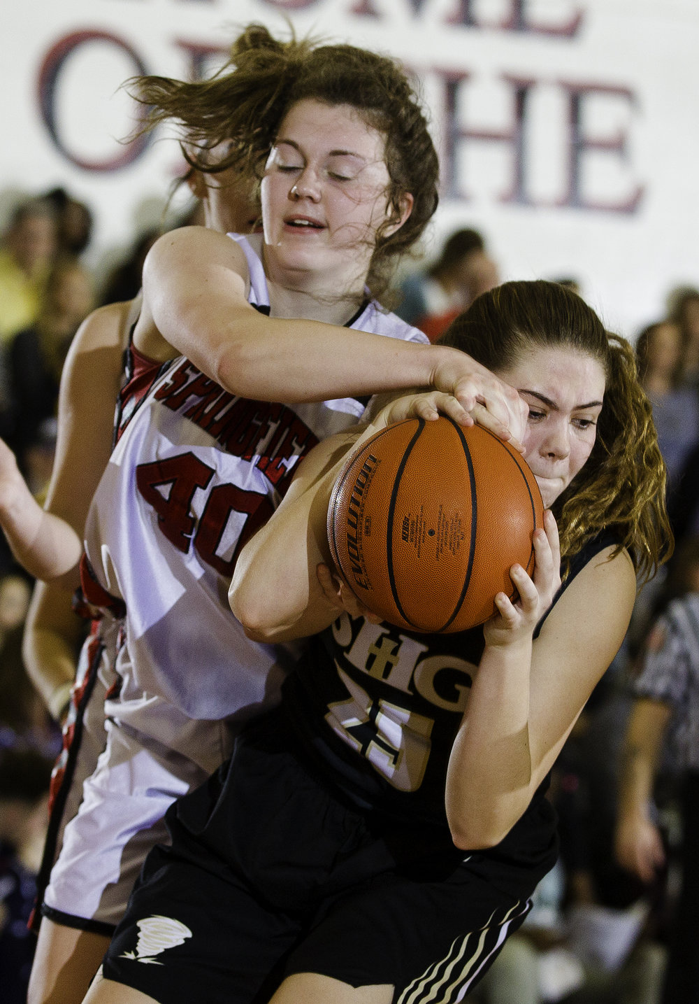 Springfield's Abby Ratsch and Sacred Heart-Griffin's Abbie Antonacci fight for a rebound during the Girls City Tournament at Springfield High School Saturday, Jan. 26, 2018. [Ted Schurter/The State Journal-Register]