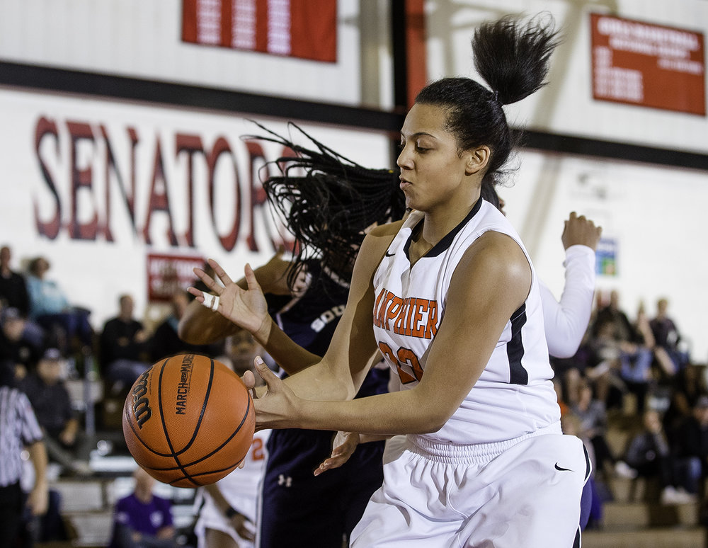Lanphier's Gracie Hampton lunges for a rebound against Southeast  during the Girls City Tournament at Springfield High School Saturday, Jan. 26, 2018. [Ted Schurter/The State Journal-Register]