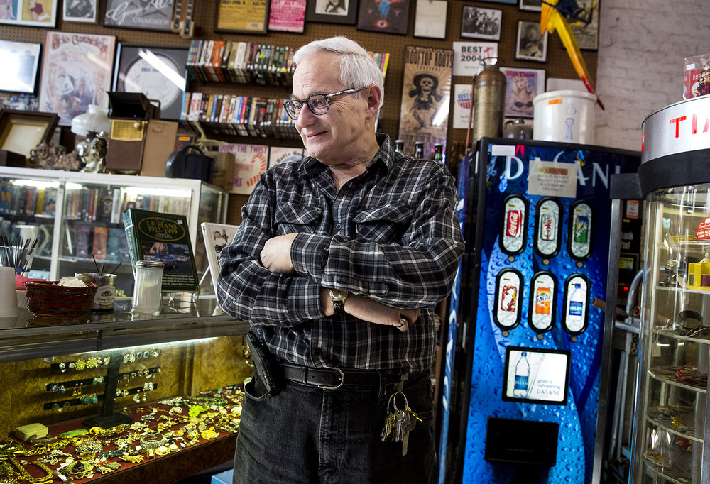 """I'm going to hate not being down here,"" says Mark Kessler, who with his brother Gary owns Recycled Records at 625 E. Adams St. in Springfield, Ill. Mark Kessler says he would like to retire and the brothers are looking for a buyer. The two began selling used records 40 years ago inside the furniture store founded by their grandparents in 1910. Kessler was photographed at the store Monday, Jan. 20, 2018.[Rich Saal/The State Journal-Register]"