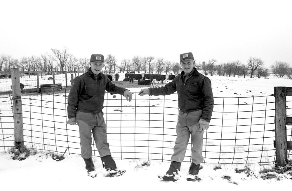 Ervwin, left, and Everett Courier, bachelor farmers, Alexander, Ill., photographed Jan. 31, 1985. Bill Hagen/The State Journal-Register
