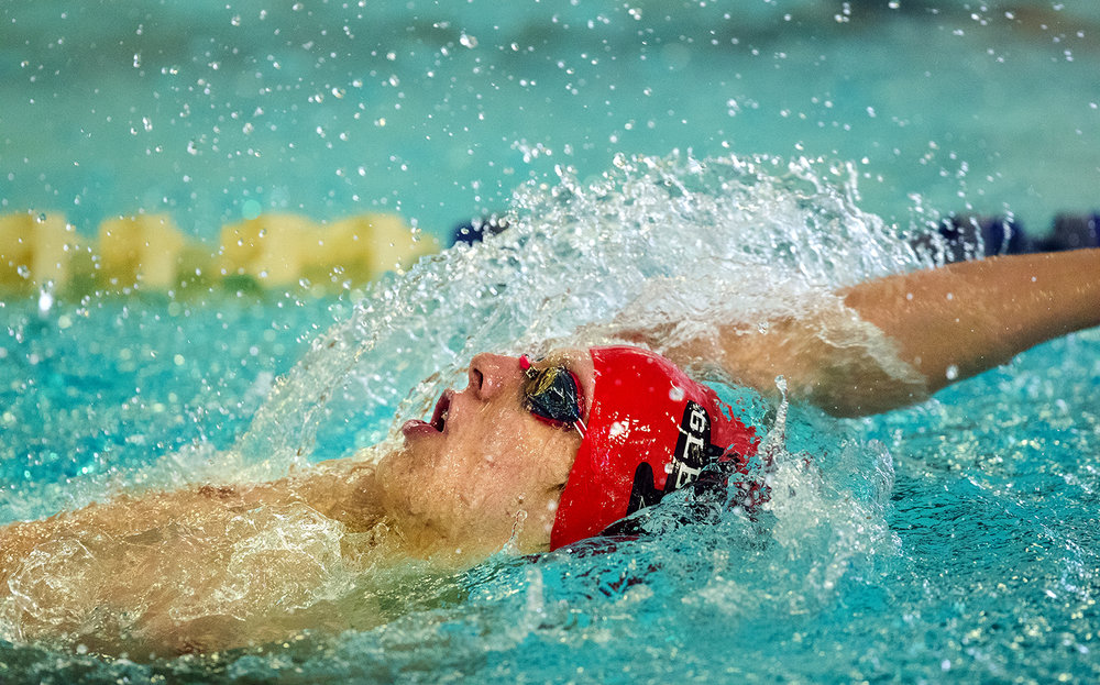 Glenwood's Evan Moulton wins the 200 individiaul medley during the Central State 8 Boys Swimming and Diving event at Eisenhower Pool Saturday, Feb. 3, 2018. [Ted Schurter/The State Journal-Register]