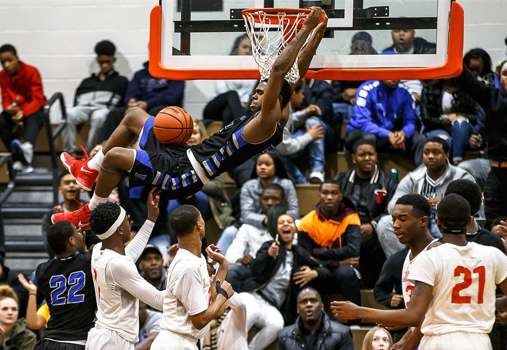 Decatur MacArthur's Armon Brummett (2) throws down a dunk against Lanphier in the second half at Lober-Nika gymnasium, Saturday, Feb. 10, 2018, in Springfield, Ill. [Justin L. Fowler/The State Journal-Register]