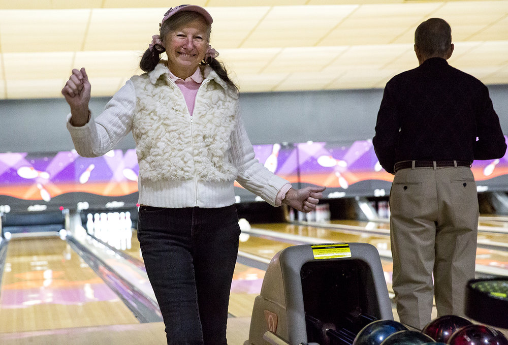 Carol Schempp, a nation senior Olympian, plays with the , Friday, Feb. 2, 2018 at Strike 'N Spare Lanes in Springfield, Ill. [Rich Saal/The State Journal-Register]