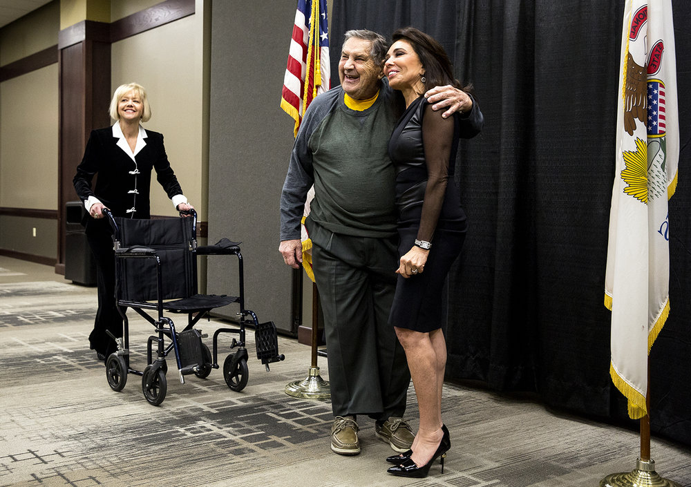 Irv Smith, former Springfield alderman and past chairman of the Sangamon County Republican Party, poses for a picture with Judge Jeanine Pirro during a reception Thursday, Feb. 8, 2018 at the BOS Center in Springfield, Ill. Pirro, a former judge and prosecutor and now a Fox News host, was the keynote speaker for the Sangamon County GOP's annual Lincoln Day dinner. Smith's daughter, Sharmin Doering, is at left. [Rich Saal/The State Journal-Register]