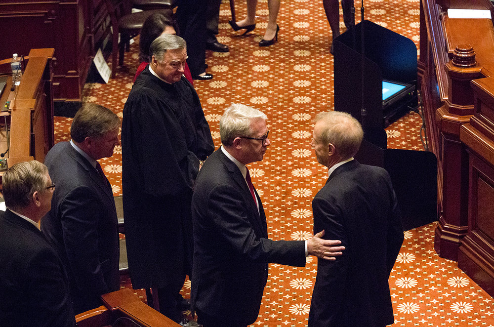 House Republican Leader Jim Durkin, R-Western Springs, greets Gov. Bruce Rauner after his budget address to a joint session of the General Assembly Wednesday, Feb. 14, 2018 at at the Capitol in Springfield, Ill. [Rich Saal/The State Journal-Register]