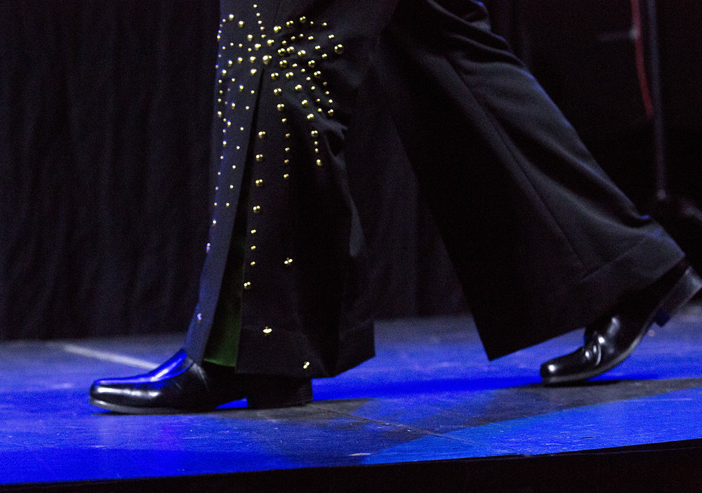 Mike Hartney of Clinton, Iowa rocks a flare-legged sequined jumpsuit during his performance at the Midwest Tribute to King preliminary round Friday, Feb. 16, 2018 Route 66 at the Hotel and Conference Center in Springfield, Ill. [Rich Saal/The State Journal-Register]