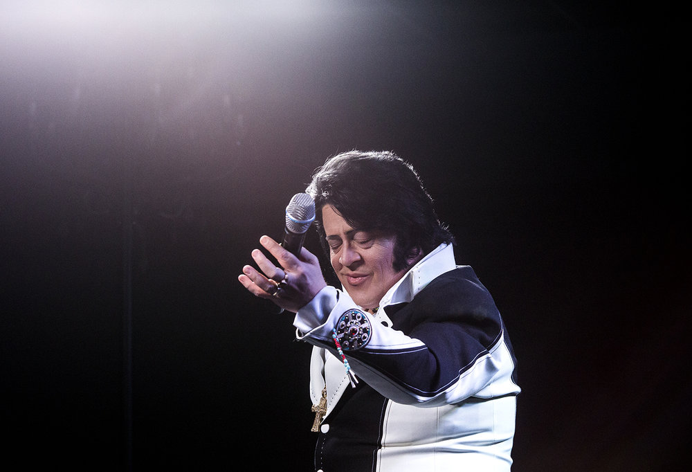 Tyler Christopher presents his Elvis tribute at the Midwest Tribute to King preliminary round Friday, Feb. 16, 2018 at the Route 66 Hotel and Conference Center in Springfield, Ill. [Rich Saal/The State Journal-Register]